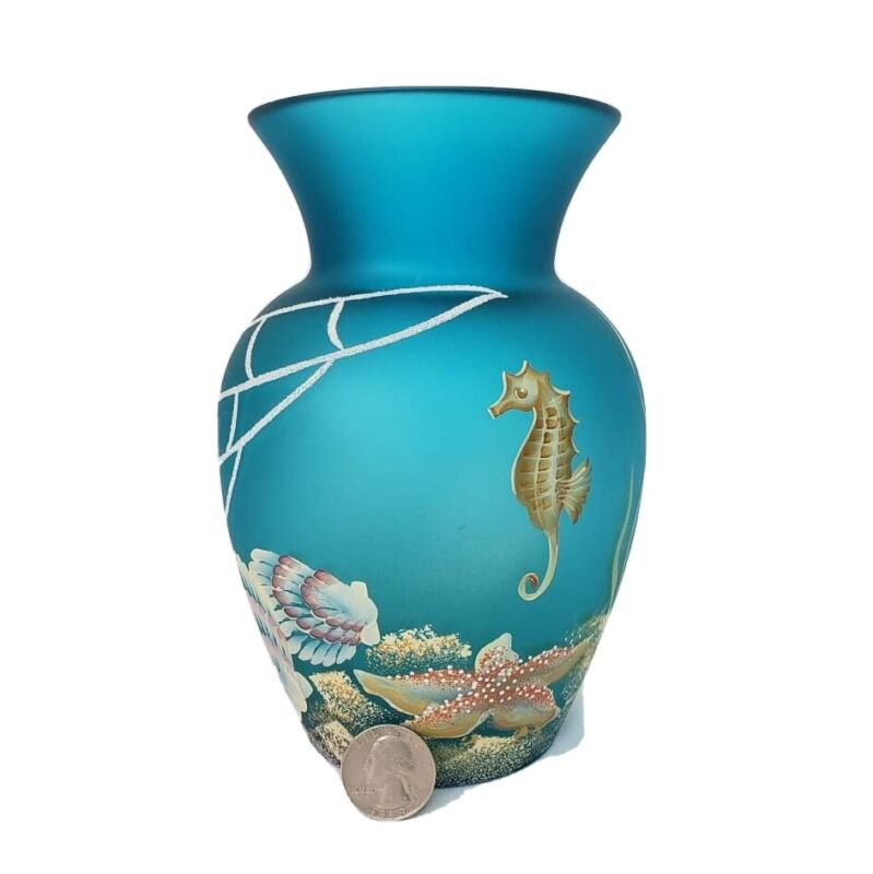 """""""FENTON"""" ART GLASS HAND PAINTED FROSTED BLUE/GOLD SIGNED Vase 100th ANNIVERSARY"""