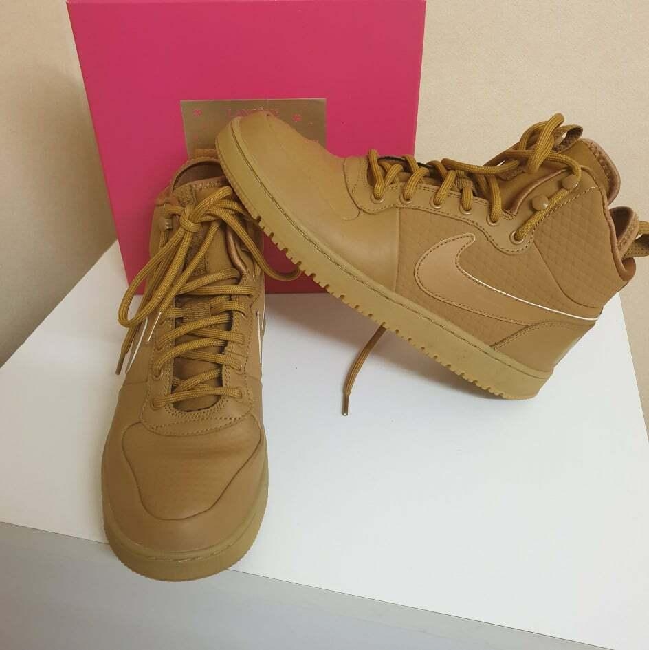 Nike pour hommes cour borough mi blé d'hiver/tan baskets aa0547 700 taille 41