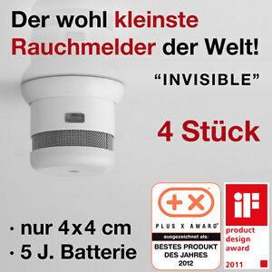 4 x mini rauchmelder rauchwarnmelder klein invisible joel 5 j batterie ebay. Black Bedroom Furniture Sets. Home Design Ideas