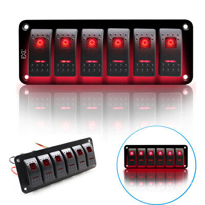 6 Gang Red Rocker Switch Panel Circuit Breaker LED Waterproof Car Marine Boat US