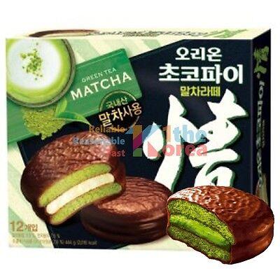 ORION Choco Pie Green Tea Matcha Latte Flavor 1 Box of 12 Pack Korean Desert NEW