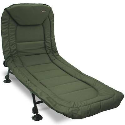 New Carp Fishing Deluxe Bedchair 6 Leg Recliner Pillow Bed Chair NGT Mud Feet