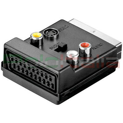 Adaptador Euroconector Macho/Hembra + Audio Rca S-VIDEO S-VHS En Fuera Cable TV