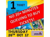 1 x Legoland Ticket -Thursday 26th October 2017, 26/10/17