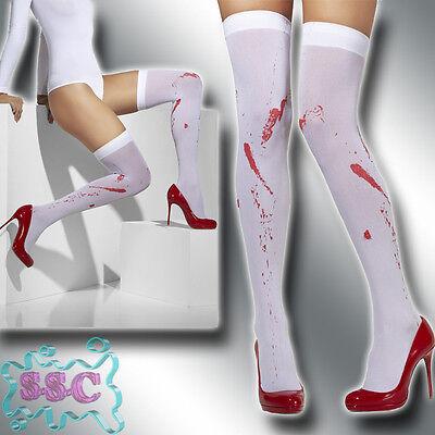 Blut Stockings Halterlose Strümpfe Overknees Zombie Horror Halloween Kostüm 18