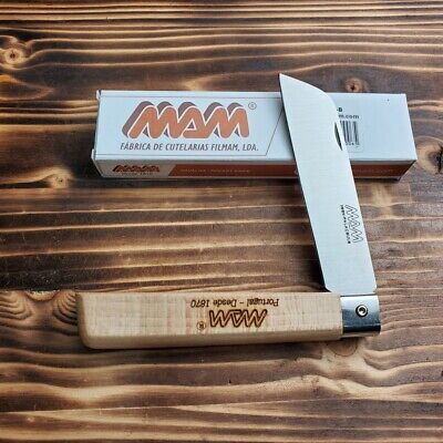 MAM 3B Beechwood Handle Stainless Sheepsfoot Blade Medium Folding Knife