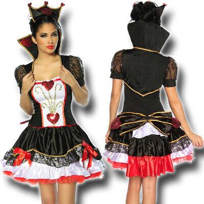 Herzkönigin Damen Kostüm XS-M 34-38 Alice im Wunderland - Schwarz Alice Im Wunderland Kostüme