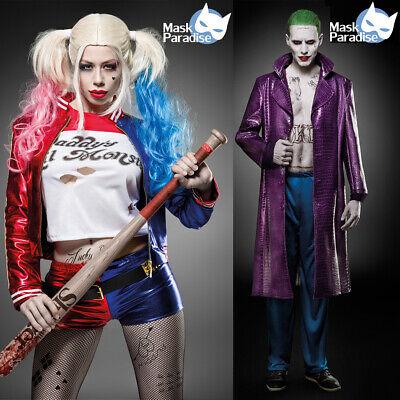 Suicide Harley Damen 5-tlg Kostüm Squad Quinn Joker Herren Halloween Karneval