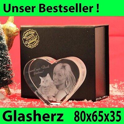 Herz Klein Glas 3D Laser Foto Gravur Geschenk in 3D Familie Geburtstag Katze NEU