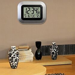 Self Setting Digital Home Office Decor Wall Clock With Indoor Temperature OE