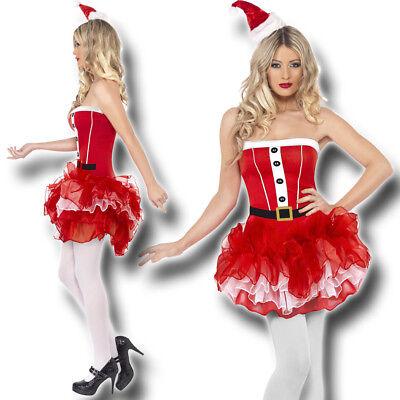 Santa Weihnachtskostüm Weihnachtsfrau Weihnachtsmann Kostüm Nikolaus Mini Kleid - Weiß Santa Kostüm