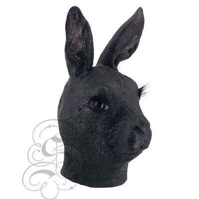 Halloween Schwarz Hase Latex Maske Tier Horror Kostüm Party (Schwarzer Hase Maske Kostüm)