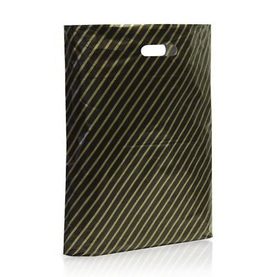 100 Black and Gold Striped Plastic Carrier Bags Stripe 15