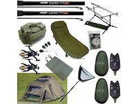 Full Carp Fishing set up Bivvy Tent Bed Chair 2 Rods Reels Bag Alarms Tackle Net