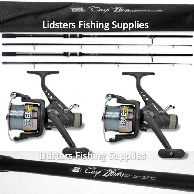 2 x 12ft Lineaeffe Carp Hunter Fishing Rod 2pc 2.75lb + 2 Freecarp Fishing Reels