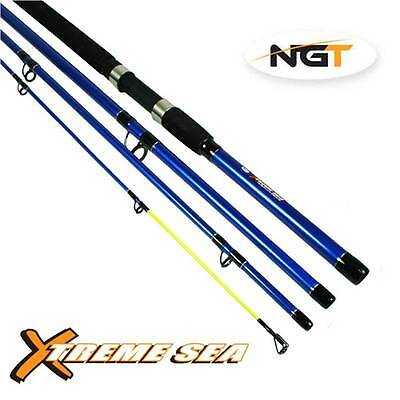 4PC SEA TRAVEL FISHING ROD 9ft 2.7M X-TREME WITH BAG BLUE NGT 75CM CLOSED