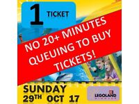 Legoland Tickets x 1 - Sunday 29th October 2017 - 29/10/17