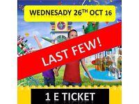 LEGOLAND 1 TICKET WEDNESDAY 26th OCTOBER ***** ONLY 2 LEFT ***** PRINT & GO ! ***** 26/10/16 Windsor