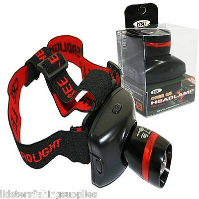 300 Lumen NGT High Powered Cree Zoom Head Lamp Torch Light Fishing Hunting