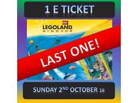 LEGOLAND 1 Ticket - CAN HAVE TODAY ! 2/10/16 - SUNDAY 2nd October*** LAST ONE **** Windsor