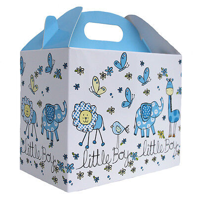 Baby Shower Snacks Boy (10 x BABY BOY BLUE & WHITE GABLE BOX Baby Shower Gift - Party Lunch Snack)