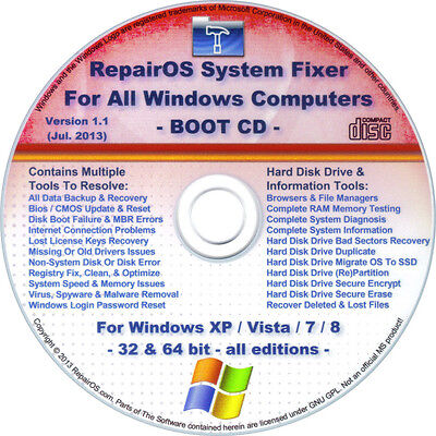 Remove Virus Spyware Adware Malware  System Fixer Boot Cd   Windows Xp Vista 7 8