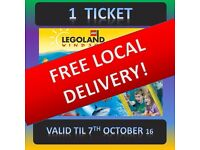 LEGOLAND 1 Ticket - FREE LOCALDELIVERY Anyday until 7th October Windsor 7/10 ANY DAY TiME