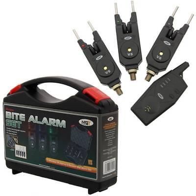 New NGT Wireless 3+1 Bite Alarm Set Carp Coarse Fishing With Snag Bars + Case