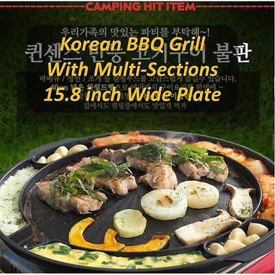 """Korean BBQ Grill Wide Pan 15.8"""" Stovetop Muti-Cookable Family Size Camping"""