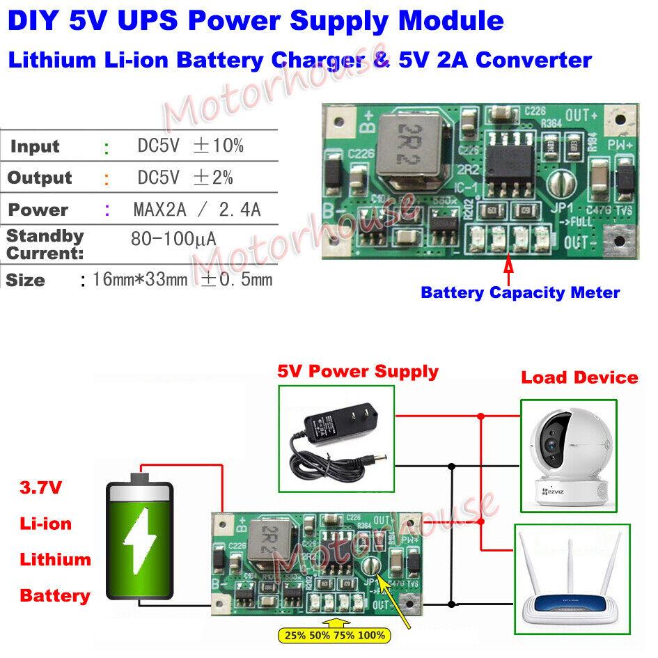 Lithium Li-ion 18650 3.7V Battery Charger DC5V 2A ...