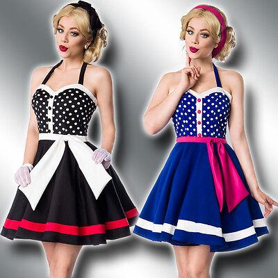 Dot Retro Neckholder (Retro Rockabilly Neckholder Kleid 34-42 50er Jahre Marine Vintage Dots 50030)