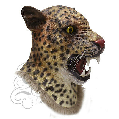 Wild Animal Mask (Latex Realistic JAGUAR Wild Cat Fancy Dress Carnival Party Theater Props Mask)