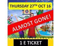 LEGOLAND 1 TICKET THURSDAY 27th OCTOBER ***** ONLY 2 LEFT ***** PRINT & GO ! ***** 27/10/16 Windsor