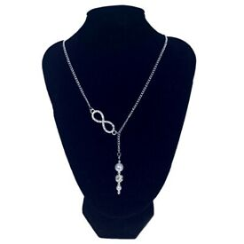 Infinity Necklace with drop pearl beads