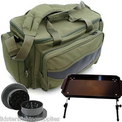Carp Fishing Coarse Tackle Bag 909 + Plastic Bivvy Bait Table + Boilie Crusher