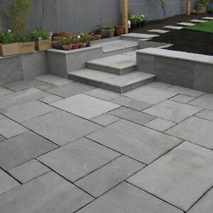 BRADSTONE INDIAN SANDSTONE PATIO PAVING SLAB SILVER GREY 300x300 07597