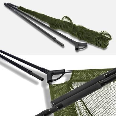"42"" Inch Large Saber Carp Pike Fishing Landing Net + 2pc 6ft Carbon Handle + Bag"