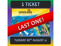 LEGOLAND 1 TICKET - TUESDAY 30th AUGUST ***** LAST ONE ! ***** 30/8/16 Windsor
