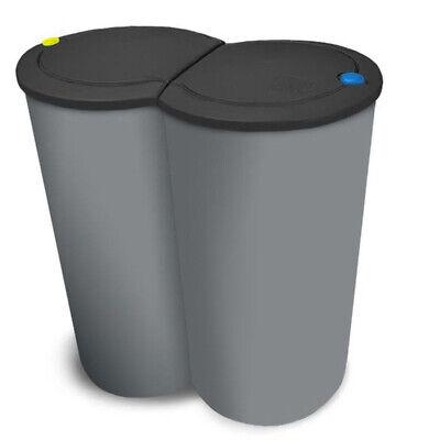 2-fach Mülleimer Doppel Duomülleimer Abfalleimer Mülltrenner Müllsammler 2x 25L