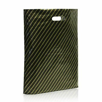 """100 X Large Black and Gold Striped Plastic Carrier Bags 15"""" x 18"""" Boutique Shop"""