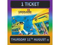 LEGOLAND Windsor 1 TICKET - THURSDAY 11th AUGUST 11/8/16 - LAST 2 Tickets Available - lego land