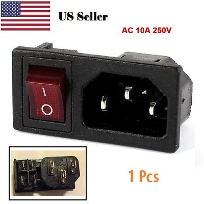 Panel IEC320 C14 Inlet Power Socket On/Off SPST Red Rocker Switch AC 250V 10A