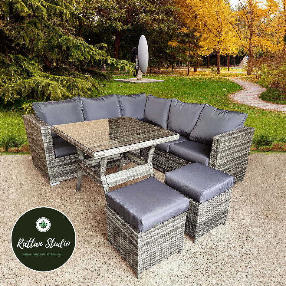 Garden Furniture - Rattan Corner Group Garden Furniture Set Outdoor Dining Table Sofa Stool Set