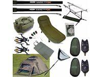 Full Carp Fishing set up Bivvy Tent Bed Chair 2 Rods Reels Bag Alarms Tackle Net