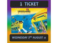 LEGOLAND Windsor 1 TICKET - WEDNESDAY 3rd AUGUST 3/8/16 - UPTO 4 Tickets Available - lego land