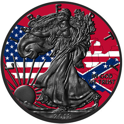 Silver American Eagle Confederate & US Flag Colorized & Ruthenium Plated Coin  ()