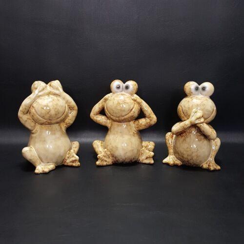 "3 Frogs See Hear Speak No Evil Ceramic Figurines Home Garden Statue 5.5"""