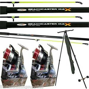 2 x 12ft Beachcaster Rods + 2 Silk 70 Reels + NGT Tripod Sea Fishing Set Kit