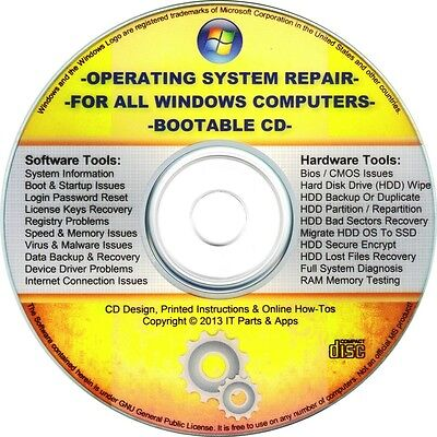 All Windows Repair Bootable Cd  Virus  Malware   Spyware Removal  Registry Clean