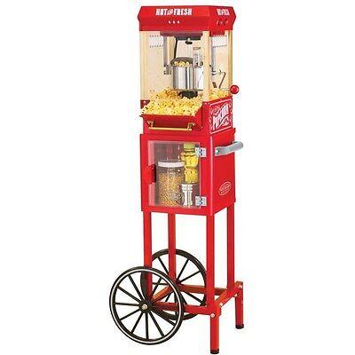 Vintage Full-size Popcorn Cart Machine Red Retro Electric Pop Corn Kettle Cart